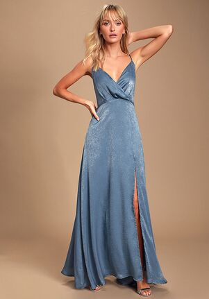 Lulus Constantine Slate Blue Satin Maxi Dress V-Neck Bridesmaid Dress