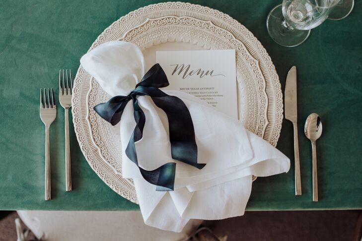 Place Settings with Lace Chargers and Velvet Linens
