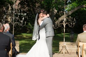 Historic Home Lawn Ceremony First Kiss