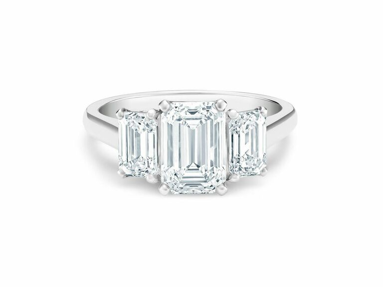 De Beers three stone engagement ring