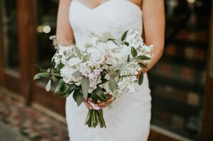 White Bridal Bouquet with Vintage Flair