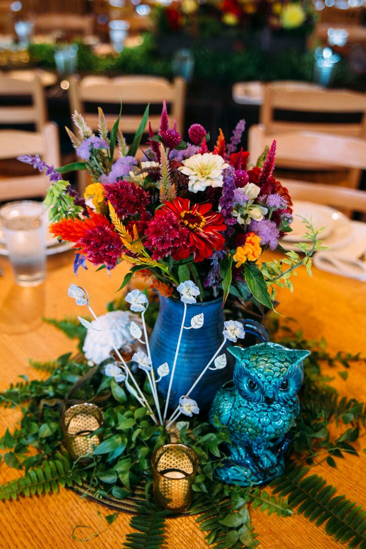 """""""My mom is a thrift store queen so we just bought things we liked or used things that were sentimental to us,"""" says Pattie. """"We are very nature inclined and wanted our wedding to reflect that with locally picked flowers."""""""