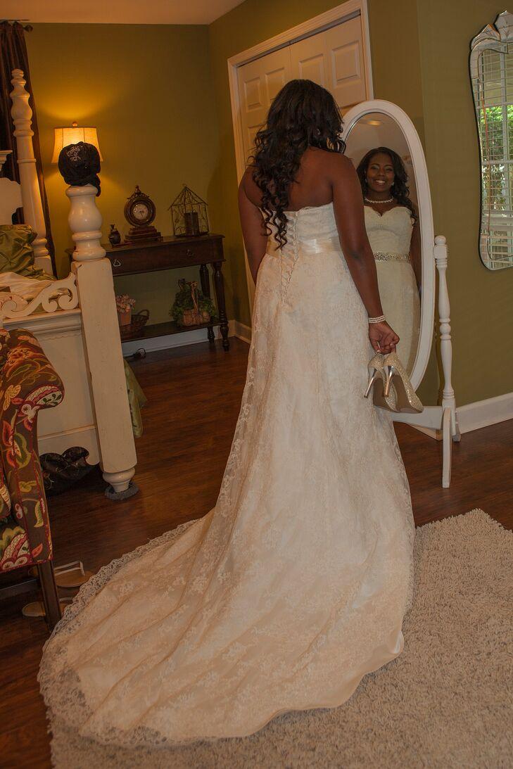 Beaded Lace Overlay with Corset Back Wedding Dress