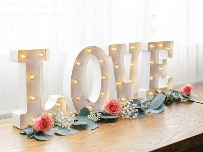 Backyard wedding ideas marquee letters
