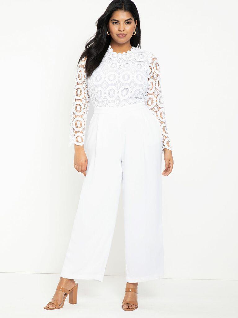 plus-size white bridal jumpsuit