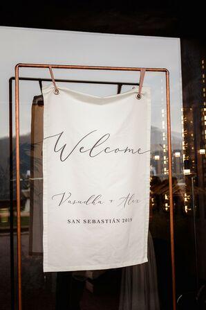 Cloth Welcome Sign for Wedding in San Sebastian, Spain