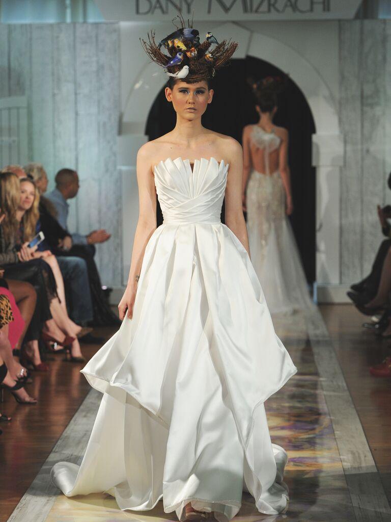 Dany Mizrachi Fall 2019 pleated tiered strapless wedding dress