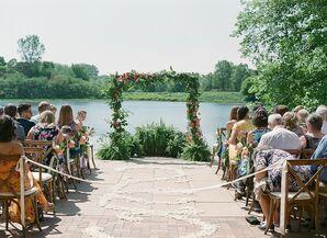 Elegant Ceremony with Greenery Arch at Chicago Botanic Garden