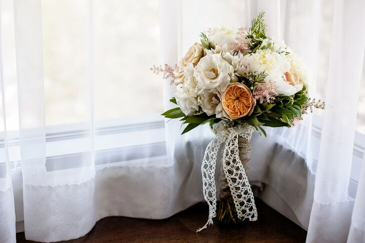 Lush Wildflower Bouquet With White Ribbon
