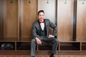 Groom in Gray Suit With Red Bow Tie