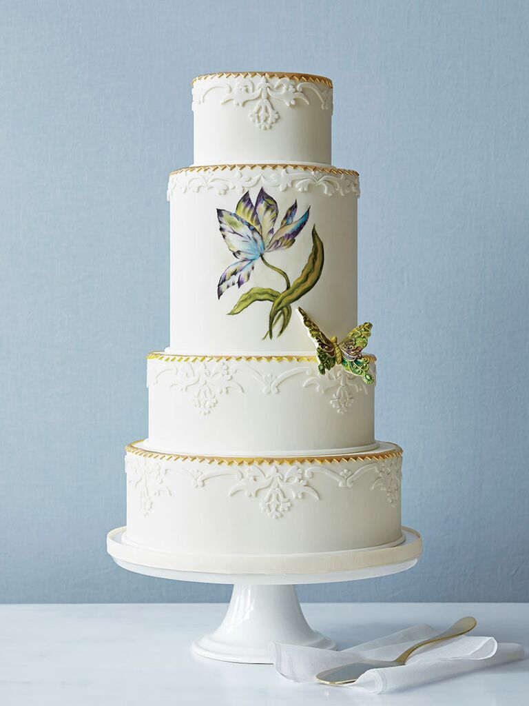 unique wedding cake with hand-painted flower