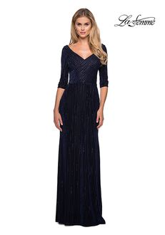 La Femme Evening 26456 Blue Mother Of The Bride Dress