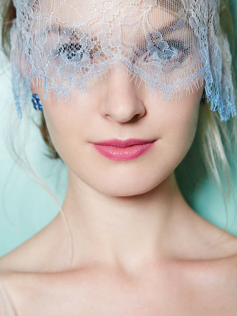 Gigi Burris Millinery light blue wedding veil