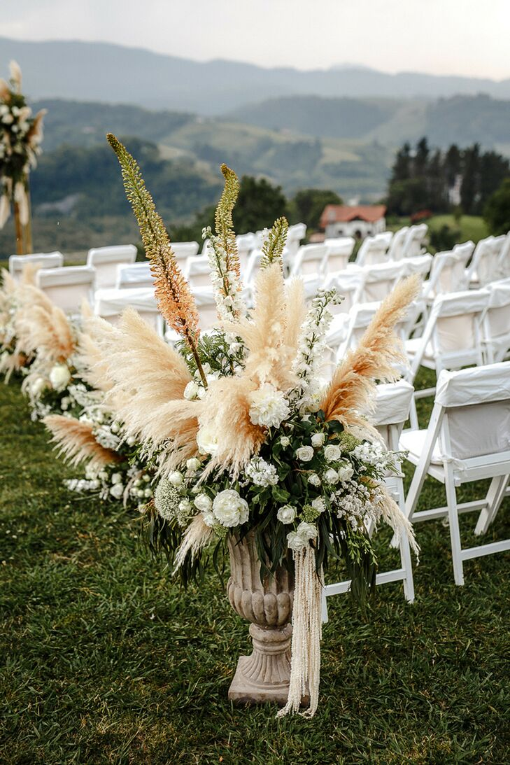Pampas Grass Ceremony Aisle Arrangements