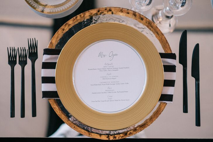 Glam Black and Gold Place Settings