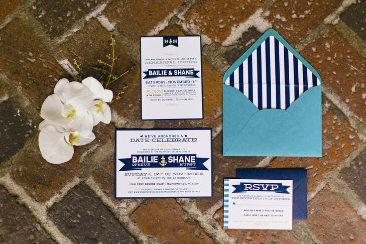 """We both love living at the beach and couldn't imagine a more fitting theme than a nautical one,"" Bailie explains. Navy stripes and a gold anchor motif in the invitation suites hinted at the day's vibe."