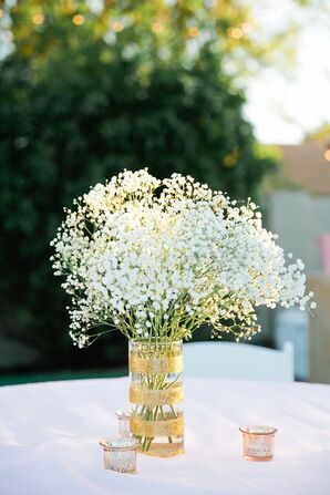 Gold Sparkly Vase with Baby's Breath Centerpiece