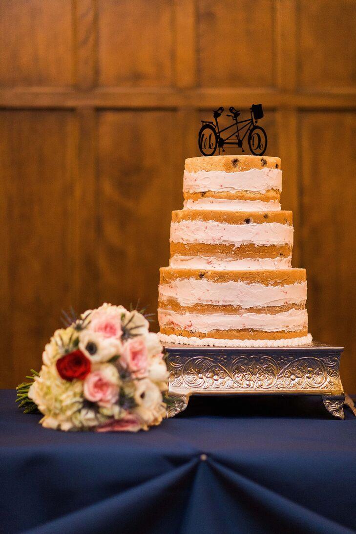 Simple, Three-Tier Naked Wedding Cake