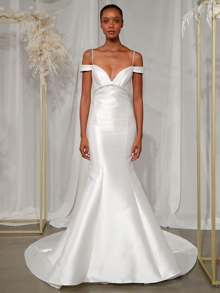 dramatic off the shoulder gown nouvelle amsale