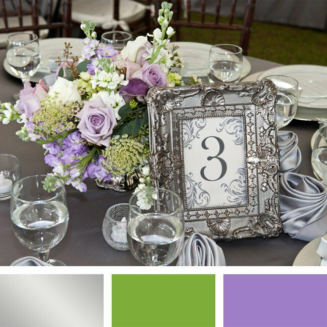 Silver, Lavender and Green Color Palette