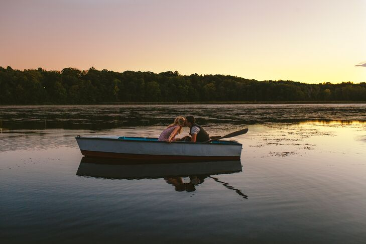 Lucy and Ariana took a few minutes to celebrate their union, just the two of them on a canoe in the lake, during a beautiful Wisconsin sunset.