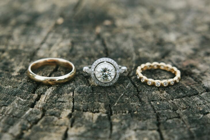 """""""Mark's wedding band belonged to his grandfather, who passed away a few months before our wedding,"""" Abbie says. """"It's a classic gold band with a long history and years of love. My engagement ring was custom from Mark's uncle, Neal Rosenblum Goldsmiths."""""""