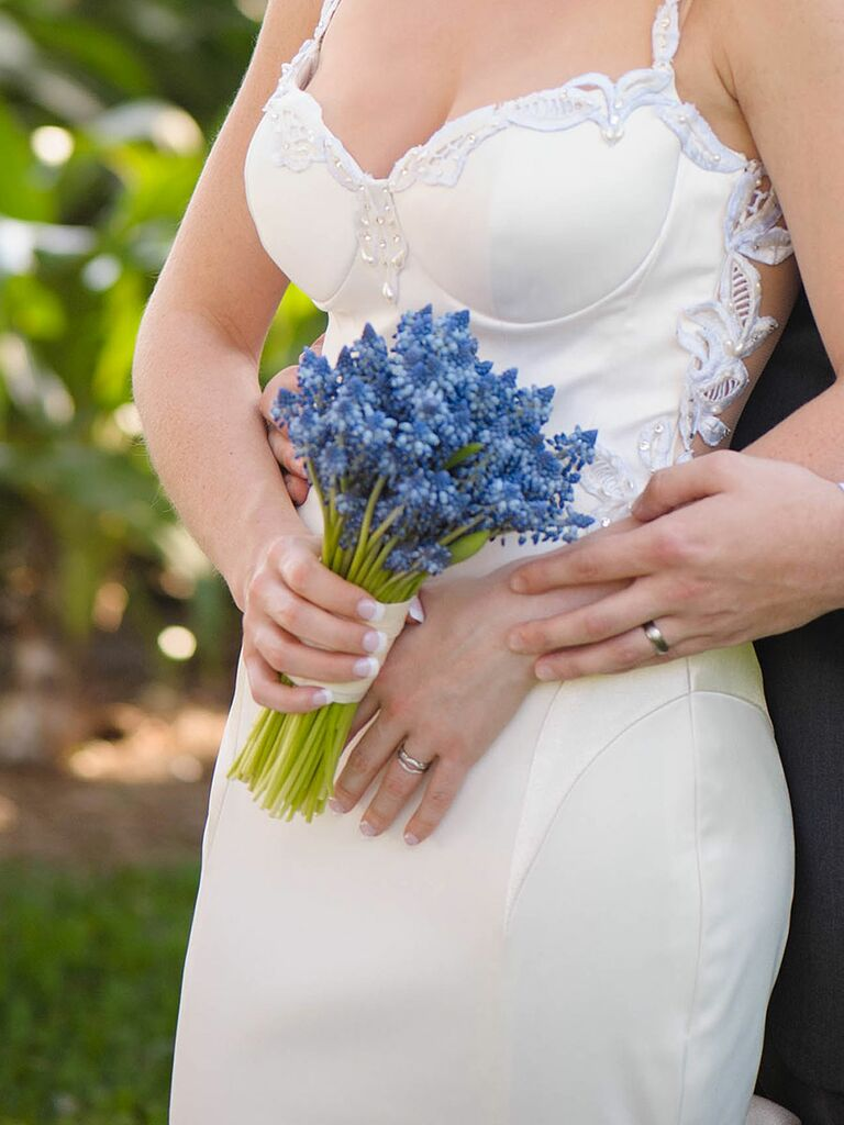 Blue wedding bouquet of blue grape hyacinth