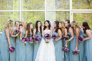 Vintage Blue Bridesmaid Gowns