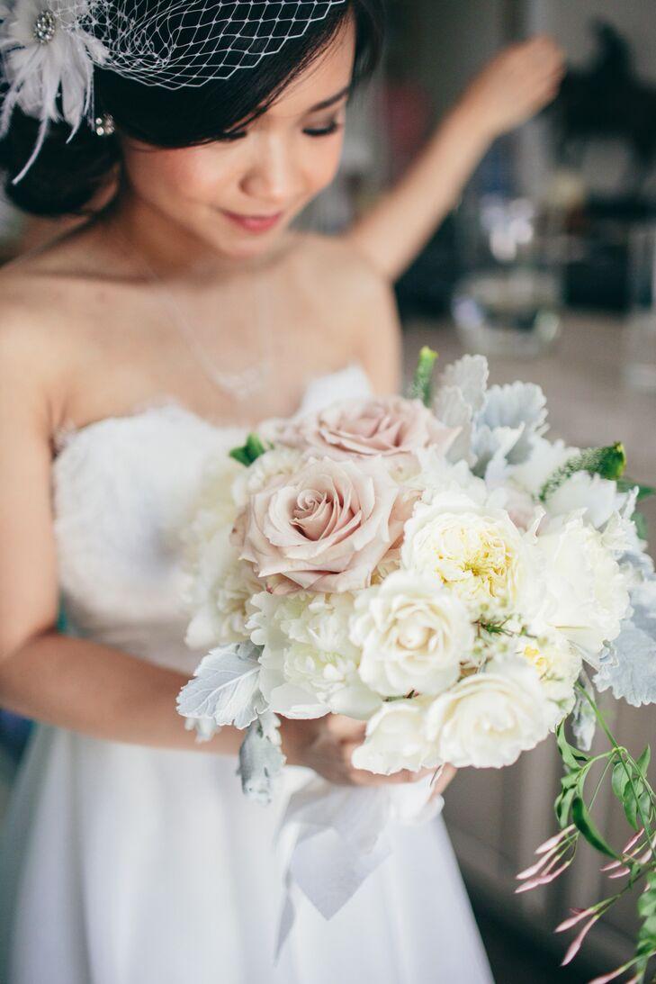 Mauve And White Rose Bridal Bouquet