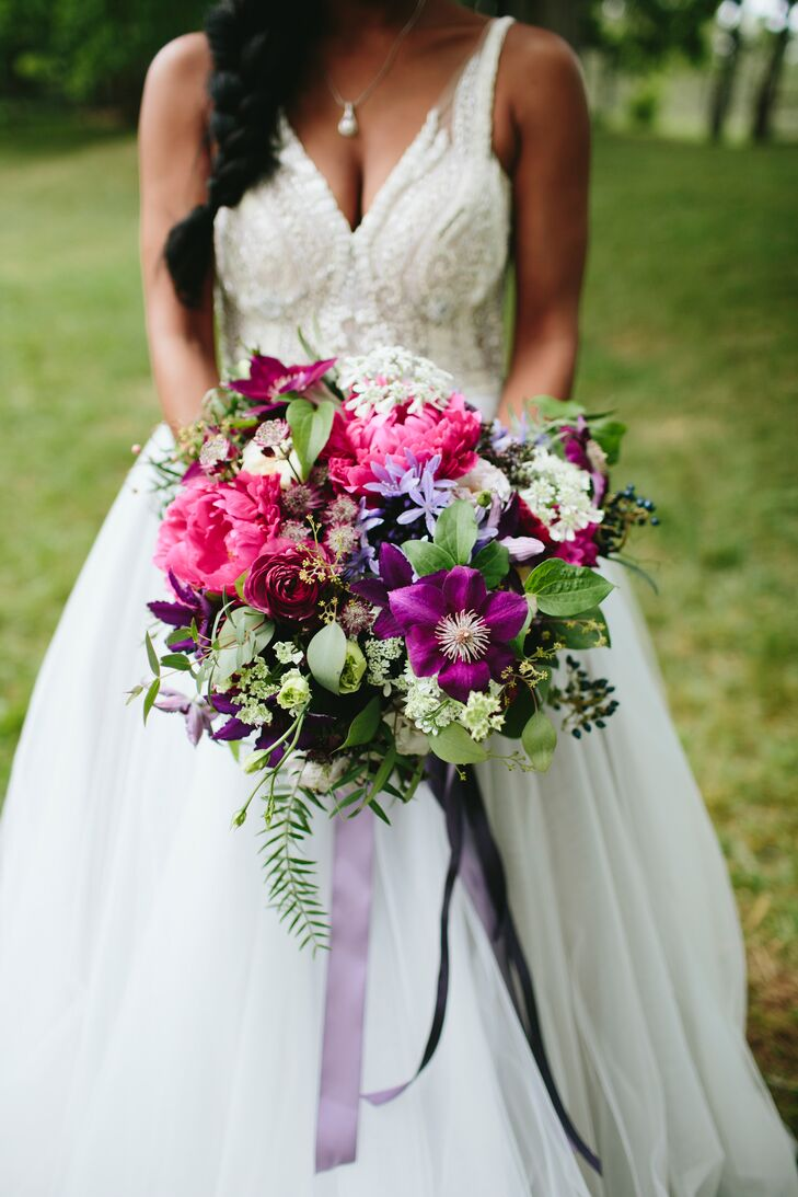 """""""My bouquet was meant to be full, with an organic shape,"""" Abbie says. """"I wasn't overly concerned with symmetry since I wanted all the florals to reflect the rawness of the farm."""""""