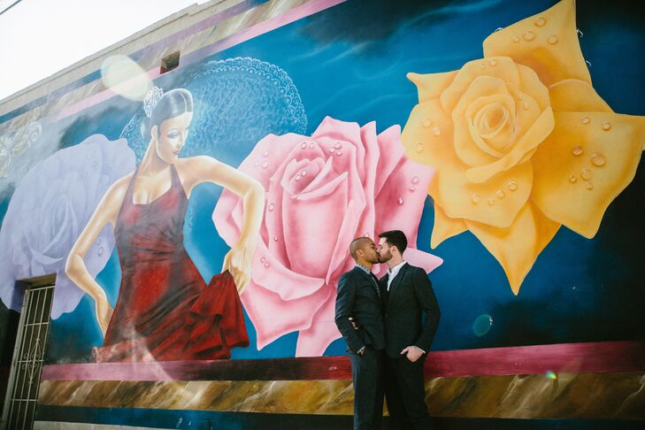 Artistic Backdrop Behind Kissing Couple