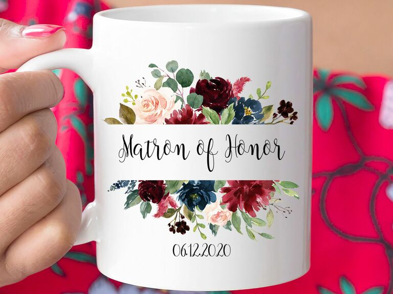 maid or matron of honor floral mug