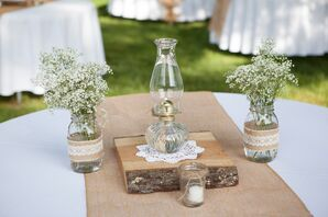 Baby's Breath and Vintage Lantern Centerpiece