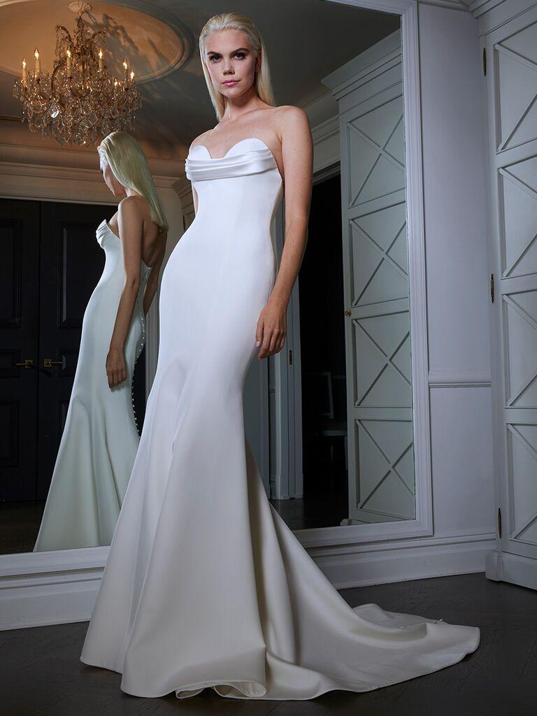 Romona Keveza wedding dress with strap detail