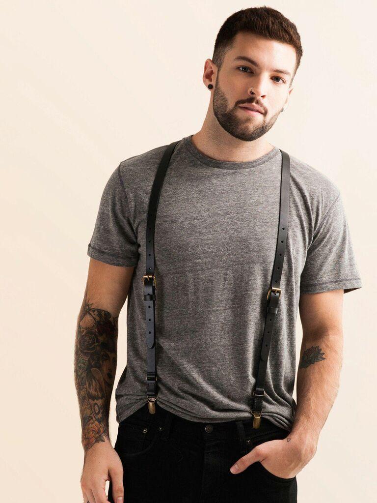 Black leather suspenders