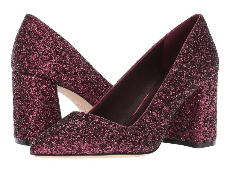 Pink sparkly wedding block heels