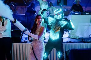 Entertainer in LED Robot Costume