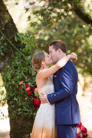Modern Red Ombre Wedding Dress