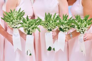 Bridesmaids in Pink Dresses with White Snapdragon Bouquets