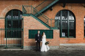 Modern Portraits in Front of Exposed Brick at The Liberty House Restaurant