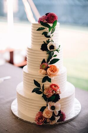 Tiered Cake with Pink Flowers