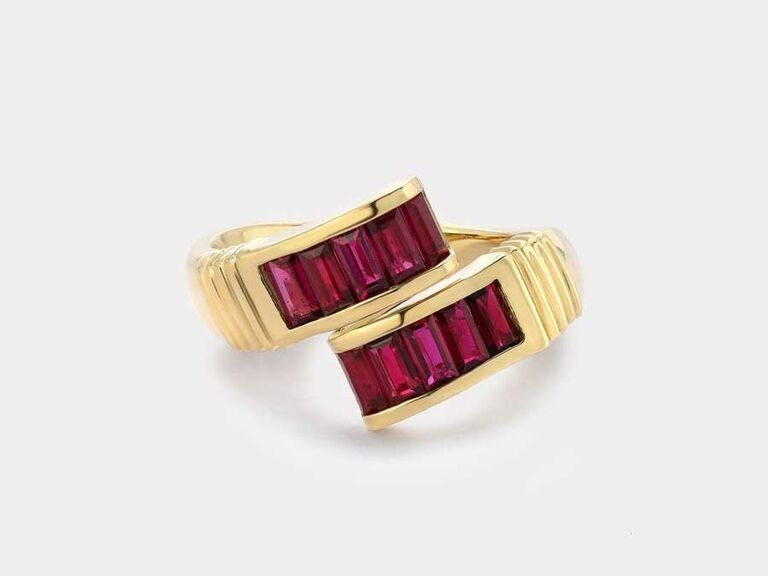 Gold wrap ring with ruby baguette stones