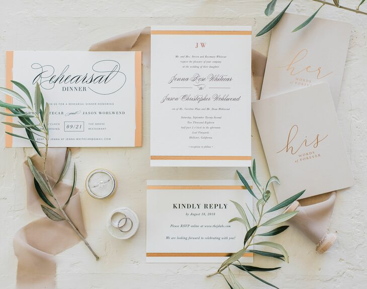 Elegant White and Orange Wedding Invitations with Calligraphy
