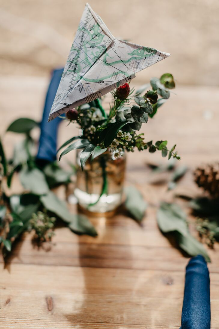 Bohemian Centerpieces with Greenery and Paper Airplane Map