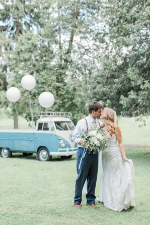 Natural Couple with Classic Volkswagon