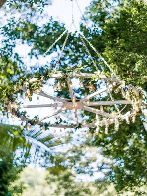 Hanging Wooden Chandelier with Greenery and Lights