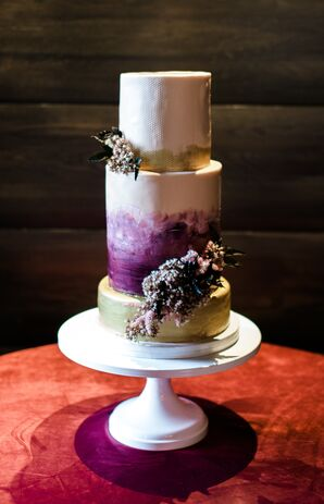 Round Tiered Cake with Purple Watercolor Ombre Design