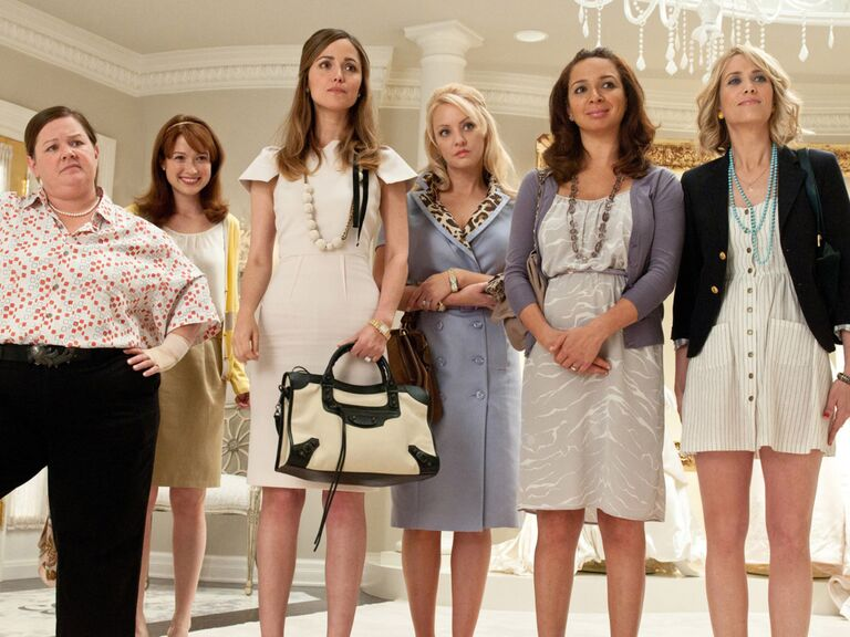 The cast of Bridesmaids during a bridal salon scene.