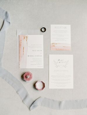 Romantic Wedding Invitations with Pink Watercolor and Typography
