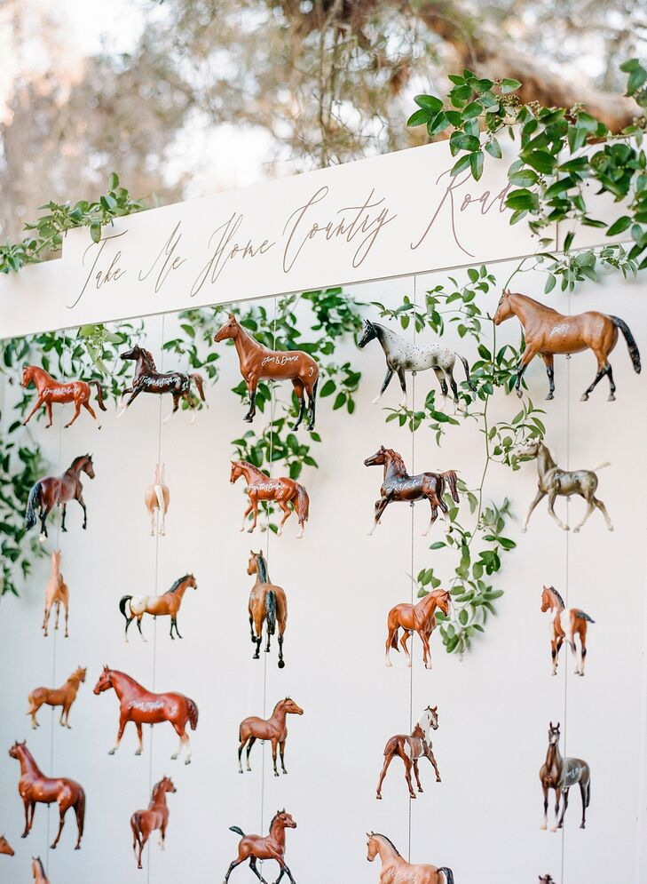 Horse Escort Card Display for Rustic Wedding